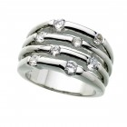 Silver-tone Crystal Accent Ring
