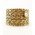 14K Antique Gold Textured Stretch Bracelet