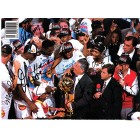 1993-94 Houston Rockets NBA Champions team autographed photo (Hakeem Olajuwon Robert Horry Otis Thorpe Rudy Tomjanovich)
