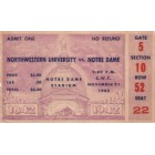 1942 Notre Dame vs Northwestern college football ticket stub (Frank Leahy)