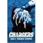 2001 San Diego Chargers media guide autographed by David Binn Tim Dwight Marcellus Wiley