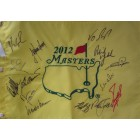 2012 Masters golf pin flag autographed by 14 winners (Bubba Watson Fred Couples Ben Crenshaw Nick Faldo Phil Mickelson)