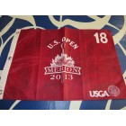 2013 US Open golf pin flag autographed by 9 winners Justin Rose Ernie Els Jim Furyk Retief Goosen Hale Irwin