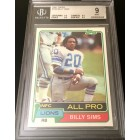 Billy Sims Detroit Lions 1981 Topps Rookie Card #100 graded BGS 9 MINT