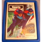 Bonnie Blair & Dan Jansen autographed speed skating 1994 Sports Illustrated framed