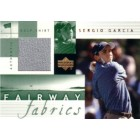 Sergio Garcia 2002 Upper Deck golf Fairway Fabrics tournament worn shirt card