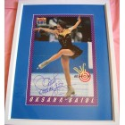 Oksana Baiul autographed ice skating 1994 Sports Illustrated for Kids mini poster matted & framed